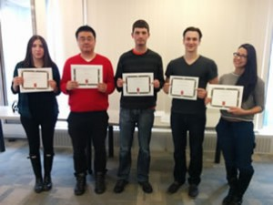 Past Peer Mentors 2014/2015 receiving Certificates of Recognition from the Founders College