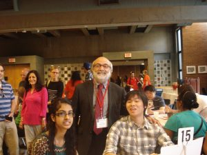 Professor Buccheri with first year students at Academic Orientation.